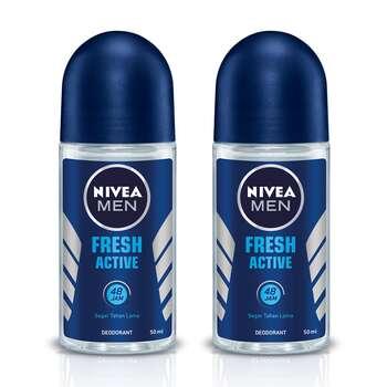 NIVEA MEN Deodorant Fresh Active Roll On 50 ml - Twin Pack harga terbaik 31840