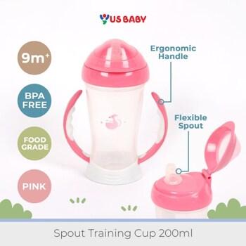 US Baby Spout Training Cup 200 ml - Pink harga terbaik 89000