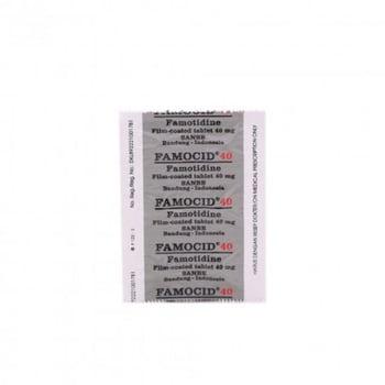 Famocid tablet digunakan untuk mengatasi luka terbuka yang timbul di dinding usus 12 jari (ulkus duodenum).