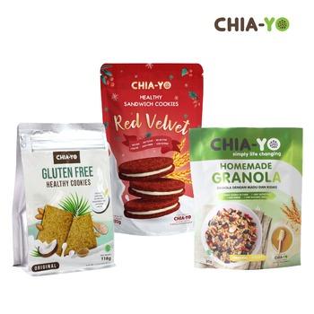 Chia-Yo Bundling Cookies Sandwich Red Velvet + Gluten Free Cookies + Granola Original 50 g harga terbaik