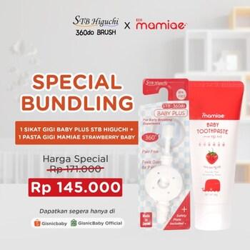 Special Bundling - STB Higuchi 360do Brush Baby Plus Sikat Gigi x Mamiae Baby Pasta Gigi - White Strawberry harga terbaik 171000