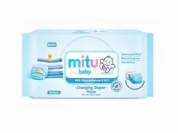 Mitu Baby With Chrysantemum & Vit E Changing Diaper Wipes Blue  harga terbaik 16613