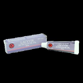 Lacyvir 5% krim 5 g untuk pengobatan infeksi virus herpes simplex pada kulit.