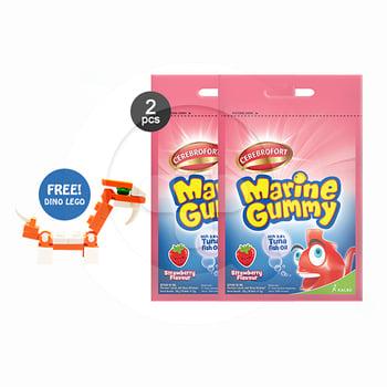 Buy 2 Cerebrofort Marine Gummy Strawberry Free Mini Block harga terbaik