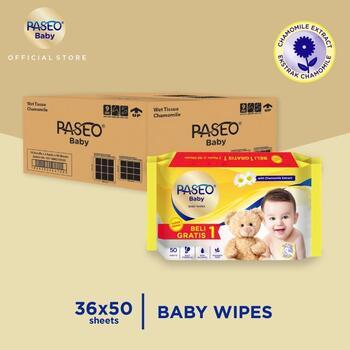Paseo Baby Tissue Basah Chamomile 50 Sheets x 36 Pcs  harga terbaik 335500