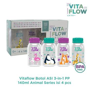 VITAFLOW Botol ASI 3in1 PP 140 mL - 1 Paket 4 Pcs - Animal Series harga terbaik 68000