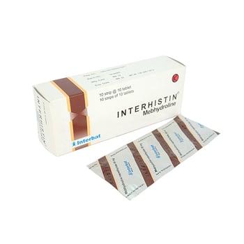 Interhistin Tablet 50 mg (10 strip @ 10 Tablet) adalah obat untuk mengatasi reaksi alergi.