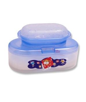 Lusty Bunny Tempat Bedak Oval Bayi + Tempat Sabun - Biru harga terbaik 34100