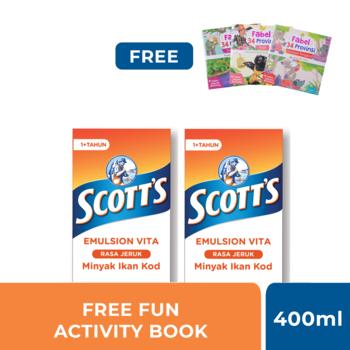 Buy 2 Scott's Emulsion Jeruk + Kalsium 400 ml Get Fun Activity Book Cerita Rakyat harga terbaik
