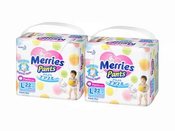 MERRIES Baby Diapers Pants L 22S Twinpack harga terbaik 194220