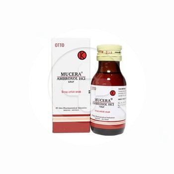 Mucera Sirup 60 ml digunakan untuk sekretolitik pada gangguan saluran nafas akut dan kronis