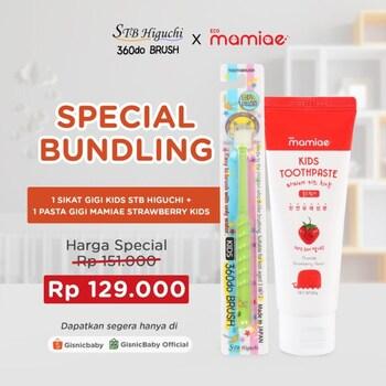 Special Bundling - STB Higuchi 360do Brush Kids Sikat Gigi x Mamiae Kids Pasta Gigi - Green harga terbaik 151000