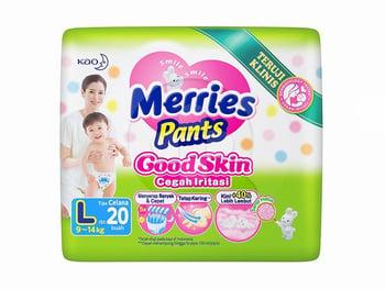 MERRIES Pants Good Skin L 20'S Merk Pampers terbaik