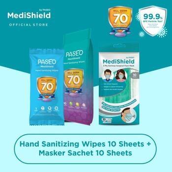 Paseo Medishield Hand Sanitizing Wipes  harga terbaik 27500