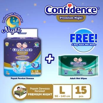 Confidence Popok Dewasa Premium Night L 15 FREE Wet Wipes harga terbaik