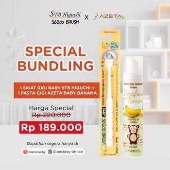 Special Bundling - STB Higuchi 360do Brush Baby Sikat Gigi x Azeta Bio Pasta Gigi - White Banana harga terbaik 220000