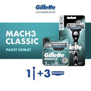 Paket Hemat Gillette Alat Cukur Mach 3 Razor + 2 Refill Pisau Cukur harga terbaik 151000