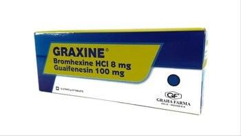 Graxine tablet digunakan untuk mengencerkan dahak (mukolitik) dan mengobati batuk berdahak (ekspektoran).