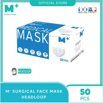 M+ Masker Medis Headloop 3 Ply Putih  harga terbaik