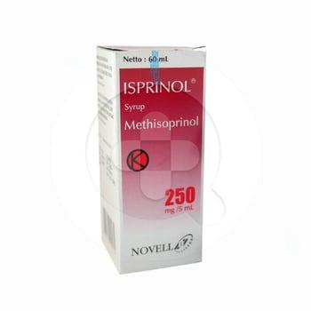 Isprinol sirup 60 ml untuk mengatasi penyakit yang disebabkan oleh virus pada saluran napas, penyakit-penyakit eksantem, penyakit hati dan beberapa penyakit sistem saraf.