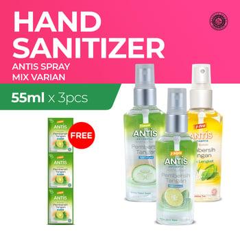 Antis Spray All Variant 55 mL x 3 - Free Antis Sachet 24 mL x 3 harga terbaik 52470