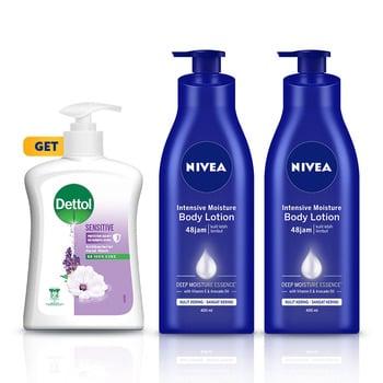 NIVEA Body Intensive Lotion 400 ml GET Dettol Sensitive Hand Wash - Twin Pack harga terbaik