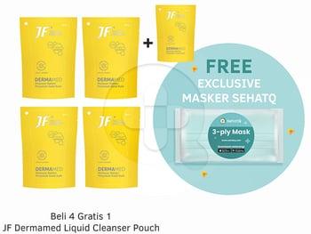 Beli 4 Gratis 1 JF Dermamed Liquid Cleanser Pouch 200 mL FREE Exclusive Masker SehatQ harga terbaik 93600