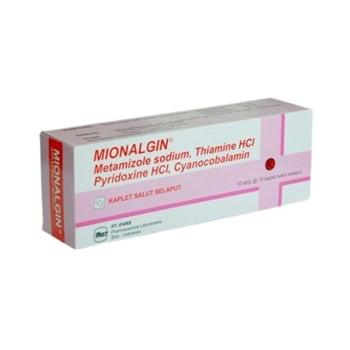 Mionalgin Kaplet adalah obat yang mengandung <ul> <li>metampiron 500 mg</li> <li>thiamin hcl 50 mg</li> <li>pyridoxine hcl 100 mg</li> <li>cyanocobalamin 100 mcg</li> </ul>