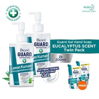 Biore Guard Gel Hand Soap Eucalyptus Scent Botol 200 ml - Twinpack FREE Gift harga terbaik 65000