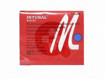 Intunal kaplet berguna untuk meredakan gajala flu yang disertai batuk berdahak, hidung tersumbat, dan batuk kering