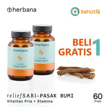 BUY 1 GET 1 Herbana Relief Sari Pasak Bumi - 60 Kapsul harga terbaik 248000