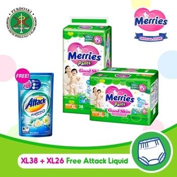 Merries Pants Good Skin XL 38S + XL 26S - FREE Attack Liquid 800 ml harga terbaik 217500