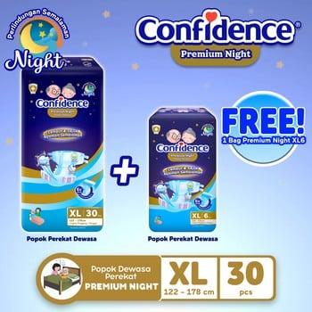 Confidence Popok Dewasa Premium Night XL 30 FREE Premium Night XL 6 harga terbaik