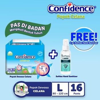Confidence Popok Celana L 16 BUY 1 GET Hand Sanitizer Spray harga terbaik