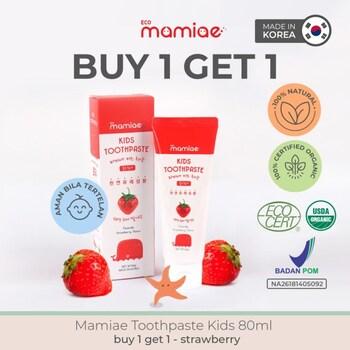Mamiae Organic Toothpaste/Pasta Gigi Anak 2-12 Tahun 80 ml - Strawberry  harga terbaik 109000