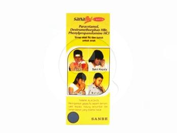 Sanaflu Plus Batuk sirup adalah obat untuk mengatasi gejala flu yang disertai batuk kering.