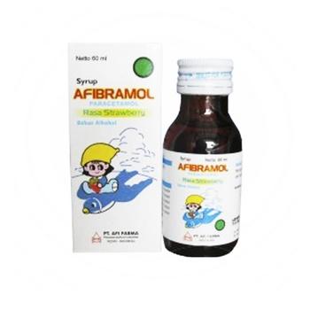Afibramol sirup 60 ml untuk meringankan rasa sakit pada keadaan sakit kepala, sakit gigi dan menurunkan demam.