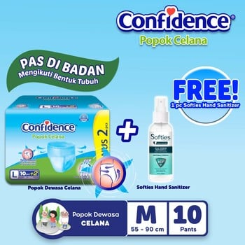 Confidence Popok Celana L 10 BUY 1 GET Hand Sanitizer Spray harga terbaik