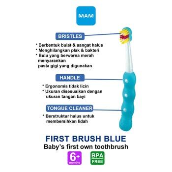 MAM First Brush 6+ Months - Sikat Gigi Bayi - Blue harga terbaik 57238