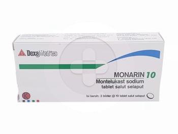 Monarin tablet digunakan untuk mengobati asma kronis dan mencegah penyempitan saluran napas (bronkokonstriksi) yang disebabkan oleh aktivitas berlebih