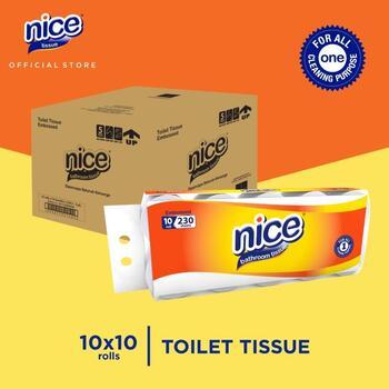 Nice Tissue Toilet Roll Core Emboss 230 Sheets - 10 Roll x 10 Pcs  harga terbaik 337150