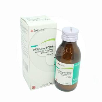 Dexyclav forte sirup kering 60 ml diindikasikan untuk infeksi yang disebabkan oleh bakteri.
