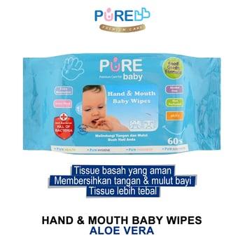 Pure Baby Hand & Mouth Baby Wipes Aloe Vera 60's harga terbaik 19863