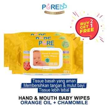 Pure Baby Hand & Mouth Baby Wipes Orange Oil 60'S  harga terbaik 59590