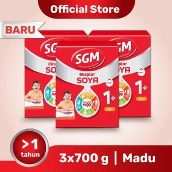 Paket 3 - SGM Eksplor SOYA Susu Pertumbuhan 1-5 Tahun Madu 700 g harga terbaik