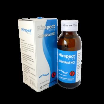 Mirapect sirup 100 ml untuk mengobati gangguan saluran pernafasan akut dan kronis.