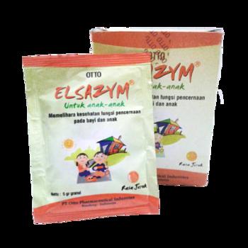 Elsazym granul 5 g membantu memelihara kesehatan pencernaan pada anak-anak.