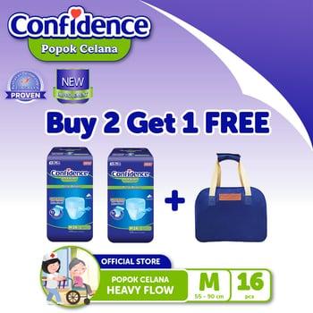Confidence Popok Celana Heavy Flow M 16 BUY 2 FREE Multipurpose Bag BLUE harga terbaik