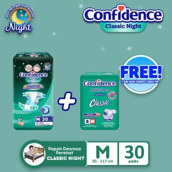 Confidence Popok Dewasa Classic Night M 30 FREE Classic M 8 harga terbaik