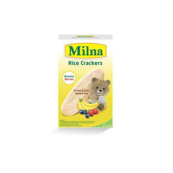 makanan bayi Milna Rice Crackers Banana Berries 5 x 4 g